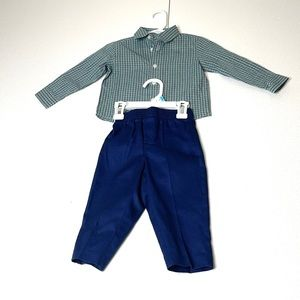 BABY BOY 2PC PANTS SET WITH STRIPED COLLAR SHIRT